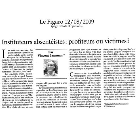 Tribune parue dans «Le Figaro» du mercredi 12 août 2009