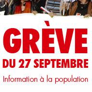 Grève du 27 septembre - Information à la population